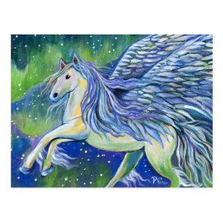 Cartão Postal Pegasus na luz do norte