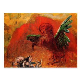 """Cartão Postal """"Pegasus & o Hydra"""" por Odilon Redon"""