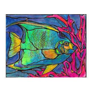 Cartão Postal Peixes do anjo do vitral