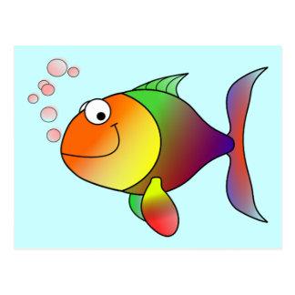 Cartão Postal Peixes engraçados bonitos - coloridos