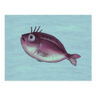 Cartão Postal Peixes engraçados com arte extravagante de Digitas