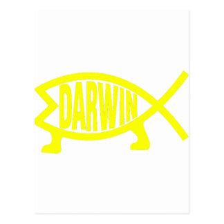 Cartão Postal Peixes originais de Darwin (amarelo)