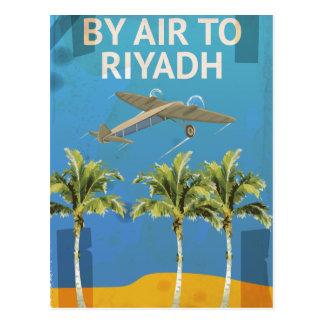 Cartão Postal Pelo ar ao poster das viagens vintage de Riyadh