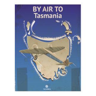Cartão Postal Pelo ar ao poster das viagens vintage de Tasmânia