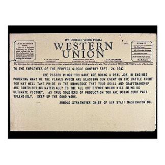 Cartão Postal Pelo fio direto de Western Union