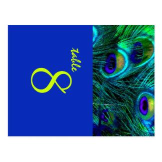 Cartão Postal Pena do pavão de PixDezines/cobalto/pias batismais