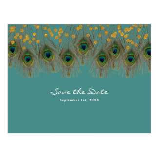Cartão Postal Penas & ouro do pavão ALGUMAS economias da COR a