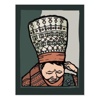 Cartão Postal Pensamento asiático central da mulher (no chapéu)