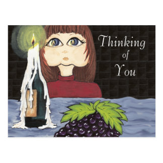 Cartão Postal Pensamento de você trabalho Cutie da vela do foco