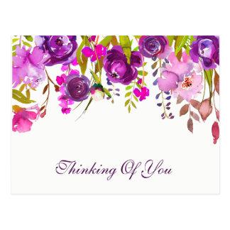 Cartão Postal Pensamento floral violeta & roxo da aguarela de