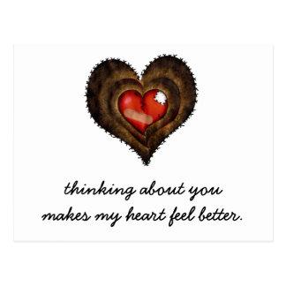 Cartão Postal Pensar sobre você faz minha sensação do coração