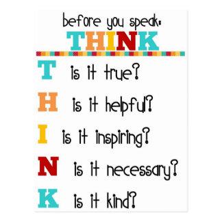 Cartão Postal Pense antes que você fale