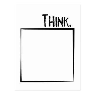 Cartão Postal Pense fora da tipografia do Literal da caixa