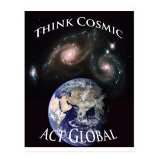 Cartão Postal pense o ato cósmico global
