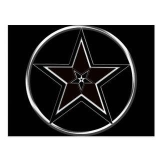 Cartão Postal Pentacle preto & de prata com pentagram invertido