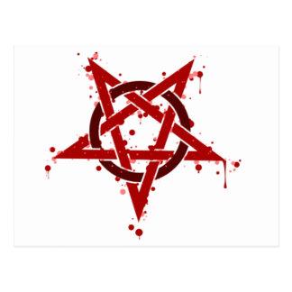 Cartão Postal Pentagram manchado satânico vermelho