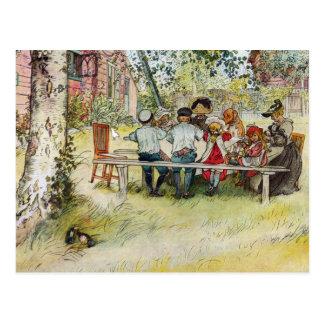 Cartão Postal Pequeno almoço sob o vidoeiro grande por Carl