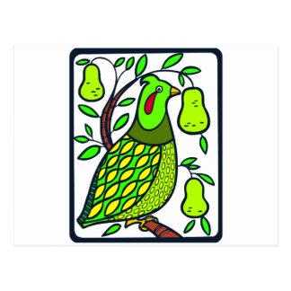 Cartão Postal Perdiz na árvore de pera