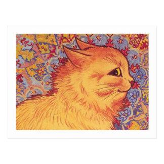 Cartão Postal Perfil do gato por Louis Wain