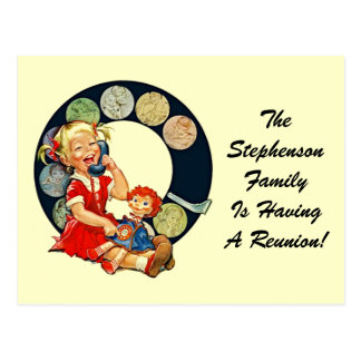 Cartão Postal Permanecer-Em-Toque retro da reunião de família do