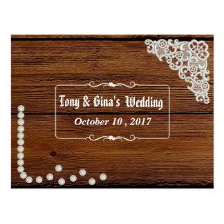 Cartão Postal Pérolas & laço rústicos do país que Wedding RSVP