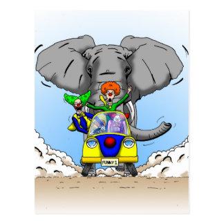 Cartão Postal Perseguição do palhaço dos desenhos animados por