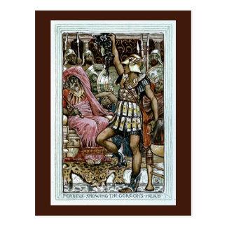Cartão Postal Perseus que mostra a cabeça do Gorgon