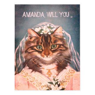 Cartão Postal Personalizado seja minha dama de honra