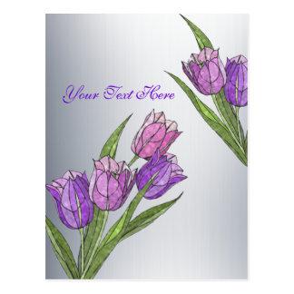 Cartão Postal Personalize-o tulipas em máscaras Pastel lindos
