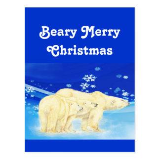 Cartão Postal Personalize ursos polares do Feliz Natal de Beary