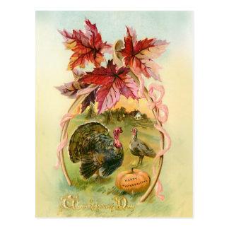 Cartão Postal Perus do vintage, Wishbone e folhas de outono