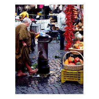 Cartão Postal pés de lavagem no mercado