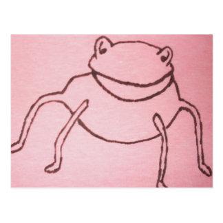 Cartão Postal pés do registro do comedor de rãs no rosa