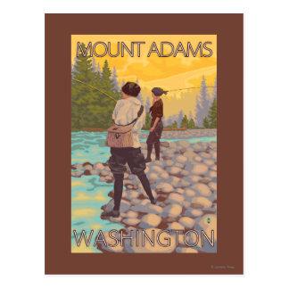 Cartão Postal Pesca com mosca das mulheres - montagem Adams,