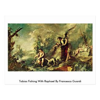 Cartão Postal Pesca de Tobias com Raphael por Francesco Guardi