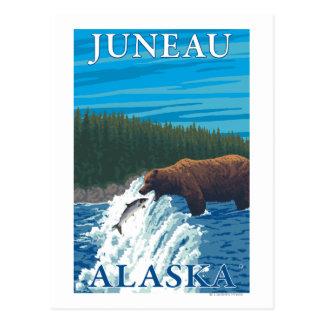 Cartão Postal Pesca do urso no rio - Juneau, Alaska