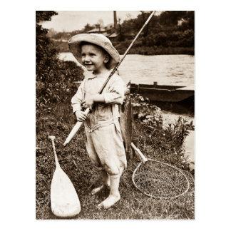 Cartão Postal Pesca do vintage do menino de país em Mississippi