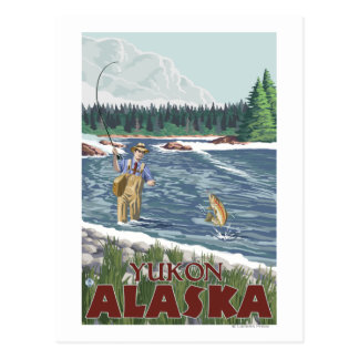 Cartão Postal Pescador da mosca - Yukon, Alaska