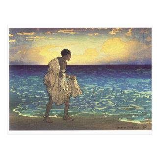 Cartão Postal Pescador havaiano, impressão do woodblock