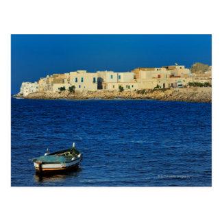 Cartão Postal pescadores, barcos ao longo da península de