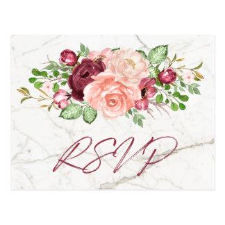 Cartão Postal Pêssego malva de mármore elegante RSVP de Borgonha