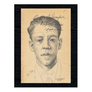 Cartão Postal Pessoas do desenho contemporâneo do retrato da