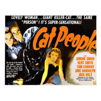 Cartão Postal Pessoas do gato do poster do horror do vintage