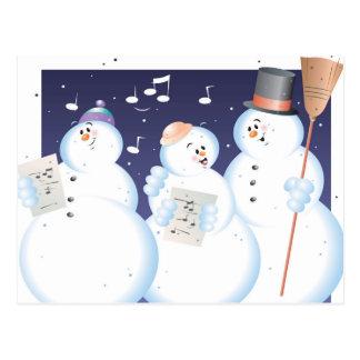 Cartão Postal Pessoas do ilustrador da cor da neve de Caroling