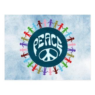 Cartão Postal Pessoas unidas em todo o mundo em um símbolo de