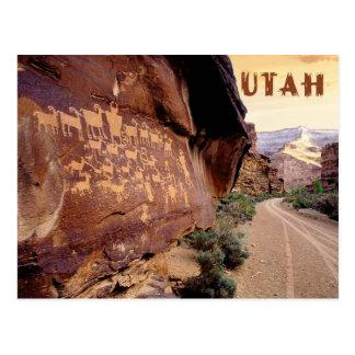 Cartão Postal Petroglyph da grande caça, garganta de nove