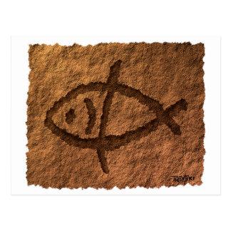 Cartão Postal Petroglyph havaiano antigo dos peixes