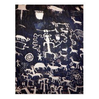 Cartão Postal Petroglyphs indianos americanos da descrição