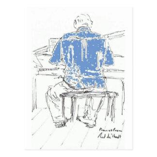 Cartão Postal Piano Man na camisa azul alguma ocasião suas