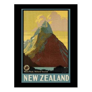Cartão Postal Pico Milford Sound da mitra de Nova Zelândia